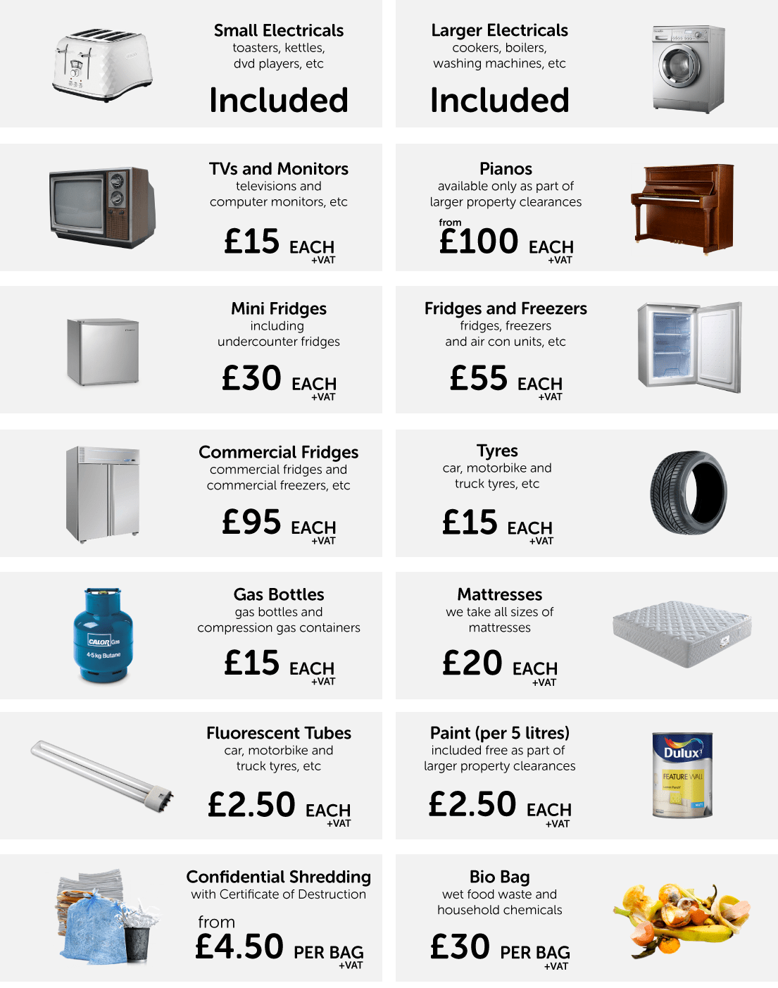 House Clearance and Cleaning Supplementary Prices
